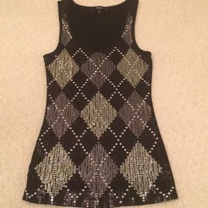 Sequenced black tank top NWNT